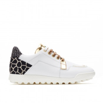 Ladies Designer Italian Golf Shoes. Water proof White, Gold Giraffe Print.